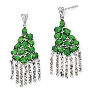 925 Sterling Silver Simulated Emerald Earrings